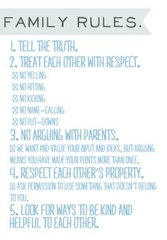 list of rules for kids - Google Search