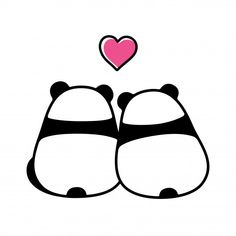 Illustration about Cute panda couple in love, simple and minimal cartoon drawing. Back view from behind. Valentine`s day greeting card vector illustration. Illustration of animal, behind, drawing - 114875054 Cute Easy Drawings, Mini Drawings, Cute Cartoon Drawings, Cute Animal Drawings, Doodle Drawings, Horse Drawings, Panda Kawaii, Niedlicher Panda, Cute Panda Cartoon