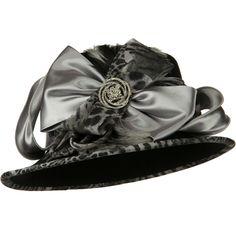 Animal Satin Wool Felt Hat - Black
