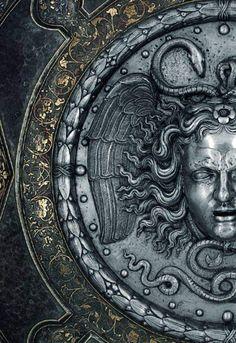 Century Italian Armorers Ceremonial Shield with the Head of Medusa (detail) Greek Mythology Art, Arte Obscura, Greek Art, Greek Gods, Art Plastique, Medusa, Dark Art, Oeuvre D'art, Sculpture Art