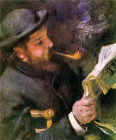 Pierre-Auguste Renoir (French 1841–1919) [Impressionism] Claude Monet Reading, 1872. Private Collection.
