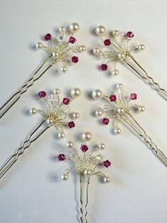 Horquillas de cristal fucsia rosa personalizados cabello