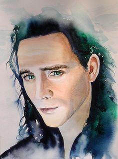 Loki ART Print of Original Watercolour Painting by KimberlyGodfrey  £12.00.... on etsy and on ebay under studio.k*   :-)   and no... I am not Kimberly herself  ...I am just a bit biased ;-)