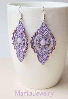 Lilac macrame earrings by MartaJewelry