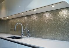 Deep Silver Premium kitchen glass splashback by CreoGlass Design (London, UK) #kitchen