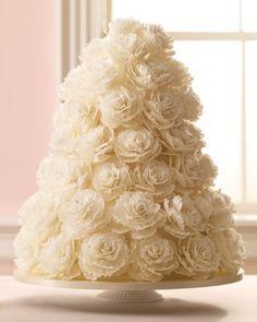 Bolo de casamento - rosas brancas