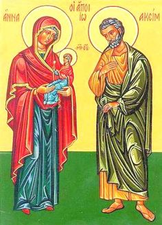 Saints Joachim and Anne, parents of the Virgin Mary/ In the Protoevangelium of James, Joachim is described as a rich and pious man, who regularly gave to the poor and to the synagogue at Sepphoris. St Anne, Gospel Of James, Religion, Santa Ana, Blessed Virgin Mary, Art Icon, Blessed Mother, New Testament, Catholic