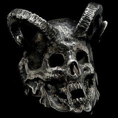 Custom-Skull-Ring-Ram-Horns-925-Sterling-Silver-Black-Gothinc-Mens-Biker-Jewelry