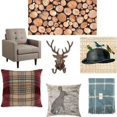 Rural Luxe Living moodboard featuring Stacked Logs wallpaper. Ideal for a rustic decor or gentleman's lounge look