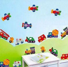 Etiquetas de pared calcomanía 24 Auto Camión avión Kid Decoración de la Sala extraíble hágalo usted mismo Nuevo