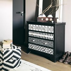 Black and white wood dresser Gaïa