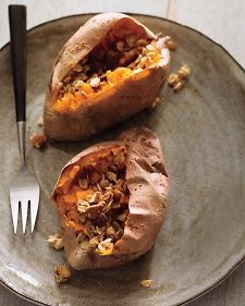 Baked Sweet Potato with Maple-Oat Crumble    Why relegate sweet potatoes to the dinner table? This multi-textured delight, which can be baked the night before, tastes just right in the morning.