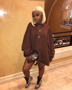 Customized Romance wigs for women 613 blonde Lace Front Wigs/FUll lace wig front lace wig Straight Brazilian Human Hair Short Bob Wig Dope Outfits, Swag Outfits, Cute Casual Outfits, Look Casual, Fall Outfits, Casual Chic, Fashion Outfits, Womens Fashion, Casual Fall
