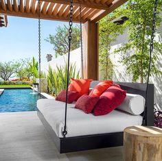 Indoor/Outdoor Swing: The Peninsula Swing Bed image 0 Swing Design, Patio Design, Bed Design, House Design, Design Studio, Design Bedroom, Indoor Outdoor, Outdoor Spaces, Outdoor Living