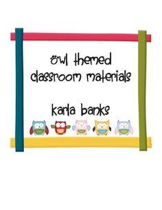 $6.50 Owl Themed Classroom Materials