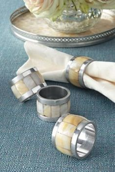 Mother-of-Pearl Napkin Rings from Soft Surroundings