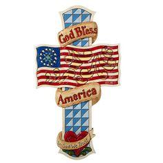 God Bless America Wall Cross By Jim Shore 12 Tall Folk Art Christian Cross