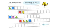 Twinkl Resources >> Repeating Pattern Worksheets (Shapes and Colours ...