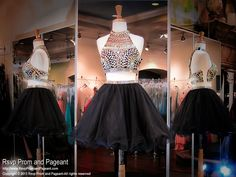 Black Two Piece Short Homecoming Dress-Multi-Colored Beaded Halter-Open Back-115RA039930 a Rsvp Prom and Pageant, your Atlanta Prom Store