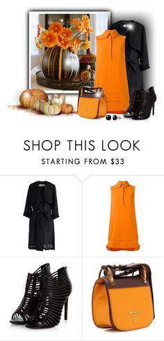 """""""Pumpkin"""" by elona-makavelli ❤ liked on Polyvore featuring Chicwish, Victoria, Victoria Beckham, Prada and Belk & Co."""