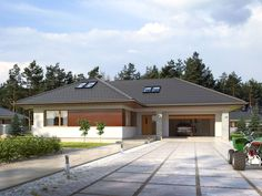 DOM.PL™ - Projekt domu TP Temida 3 CE - DOM TP1-46 - gotowy koszt budowy Rio 2, Dream House Plans, Bungalow, Garage Doors, Sweet Home, Outdoor Decor, Modern, Home Decor, Ideas