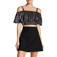 AFTER MARKET Willow Metallic Off Shoulder Ruffle Blouse ($30) ❤ liked on Polyvore featuring tops, blouses, dark silver, off shoulder ruffle blouse, ruffle blouse, print crop tops, off-the-shoulder ruffle tops and crop blouse