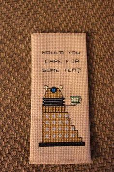 Craftster Personal/Private Swap Gallery - Dalek Tea Cross Stitch