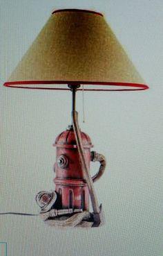 Firefighter Lamp Home Decor Man Cave Garage Women