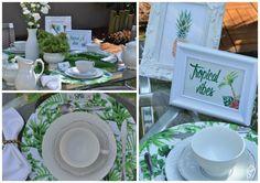 Inspiração para receber os amigos com charme, veja como montar uma mesa de café da manhã no clima tropical.