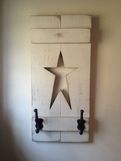 Primitive Americans country wooden star hook by QueenEmmaDesigns, $26.00