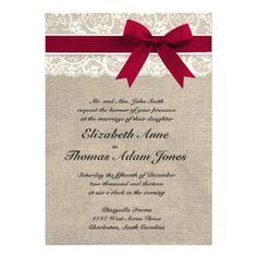 Ivory Lace Red Ribbon Burlap Wedding Invitation