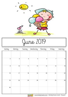 June printable 2019 calendar - boy eating ice cream in the sunshine; just like we hopefully will be very soon! #printables #kidsprintables #2019calendar