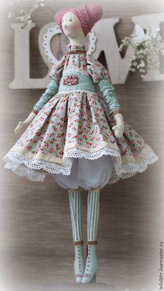 Купить Амели - комбинированный, розовый, мятный цвет, кукла ручной работы, кукла, кукла в подарок