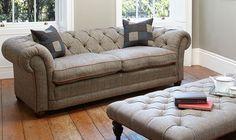 Orkney chesterfield sofa in Harris Tweed Midi Sofa (3str)