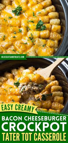A tasty dinner recipe for busy nights! Thanks to the slow cooker, a creamy, cheesy comfort food classic becomes an easy meal. The whole family will love this bacon cheeseburger tater tot casserole in the crock pot! Best Crockpot Recipes, Slow Cooker Recipes, Cooking Recipes, Cheeseburger Tater Tot Casserole, Delicious Dinner Recipes, Yummy Recipes, Best Homemade Pizza, Breakfast Recipes, Bacon