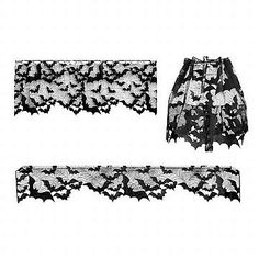 Bats Lace 4 Way     Bats everywhere! This versatile item will drape a colony of bats anywhere your heart desires. Use it as a lamp shade cover, a mantle scarf or curtains.  - Use as window valance, mantle scarf or lamp shade cover - Includes rod slots for curtain hanging - Machine washable - Hang dry, not dryer safe - Includes 1 (60 x 20 inch) panel - Made by Heritage Lace in the USA