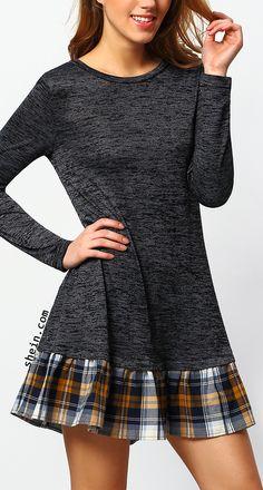 Grey drop waist contrast plaid dress.