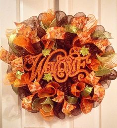 Fall wreath/ Welcome Fall Mesh Wreath/ by Wreaths4u2byPaula