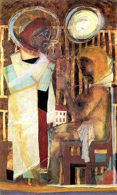 (by RasMarley) Bela Kondor ST. Peter and a Woman Celtic Christianity, Photo Art, Saints, Figurative, Landscape, Woman, Angels, Paintings, Artists