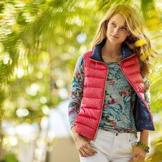 Cynthia Down Vest and outerwear~ Tommy Bahama is usually not my style for women's clothes, but the few things I've gotten from them have been VERY well-made and fit great! Holiday Fashion, Autumn Fashion, Women's Clothes, Clothes For Women, Down Vest, Tommy Bahama, New Dress, Fashion Beauty, Vogue