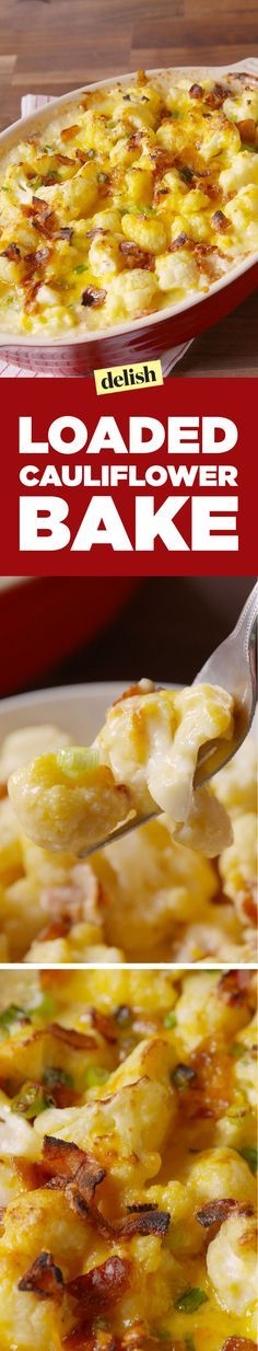 Loaded Cauliflower Bake - http://Delish.com side dish or double for entree