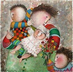 Pinzellades al món: Día de la Mare, il·lustracions / Día de la Madre, ilustraciones / Mothers Day, illustrations Painting For Kids, Art For Kids, Art Children, Hugs, Art Connection, Fat Art, Blue Horse, People Art, Children's Book Illustration
