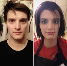 For anyone just starting their journey and looking to grow out their hair, here's what exactly one year of growth looks like! Transgender Transformation, Male To Female Transformation, Male To Female Transition, Mtf Transition, Male To Female Transgender, Transgender Girls, Transgender Before And After, Mtf Hrt, Transitioning Hairstyles