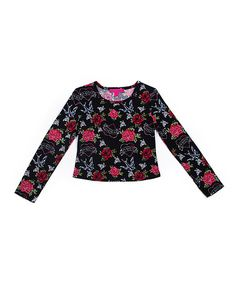 This Black Rose Top - Girls is perfect! #zulilyfinds