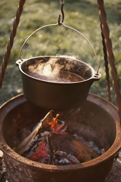 Camp cooking in dutch oven
