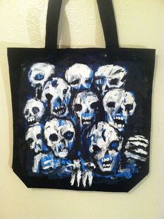 Hand Painted CANVAS Tote Bag, original art by jack larson Bloody Skull Design #Abstract