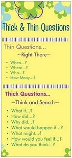 Thick & Thin questions: great strategy for teaching students that have difficulty with answering questions! Thick & Thin questions: great strategy for teaching students that have difficulty with answering questions! Comprehension Strategies, Teaching Strategies, Teaching Tips, Teaching Reading, Reading Comprehension, Visual Thinking Strategies, Guided Reading, Thinking Skills, Critical Thinking