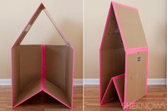 Today we decided to present you some creative and interesting DIY cardboard playhouse ideas. With some really basic and inexpensive materials, a plain cardboard box can be transformed into a stimulating and colorful play house. Indoor Playhouse, Cardboard Playhouse, Build A Playhouse, Cardboard Crafts, Cardboard Dollhouse, Playhouse Ideas, Cardboard Boxes, Cardboard Rocket, Castle Playhouse