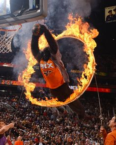 Phoenix Suns gorilla jumps through a fiery hoop - US Airways Arena! See the Suns!