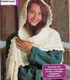 EASY PDF Pattern for Crochet Hooded Scarf Instant Download